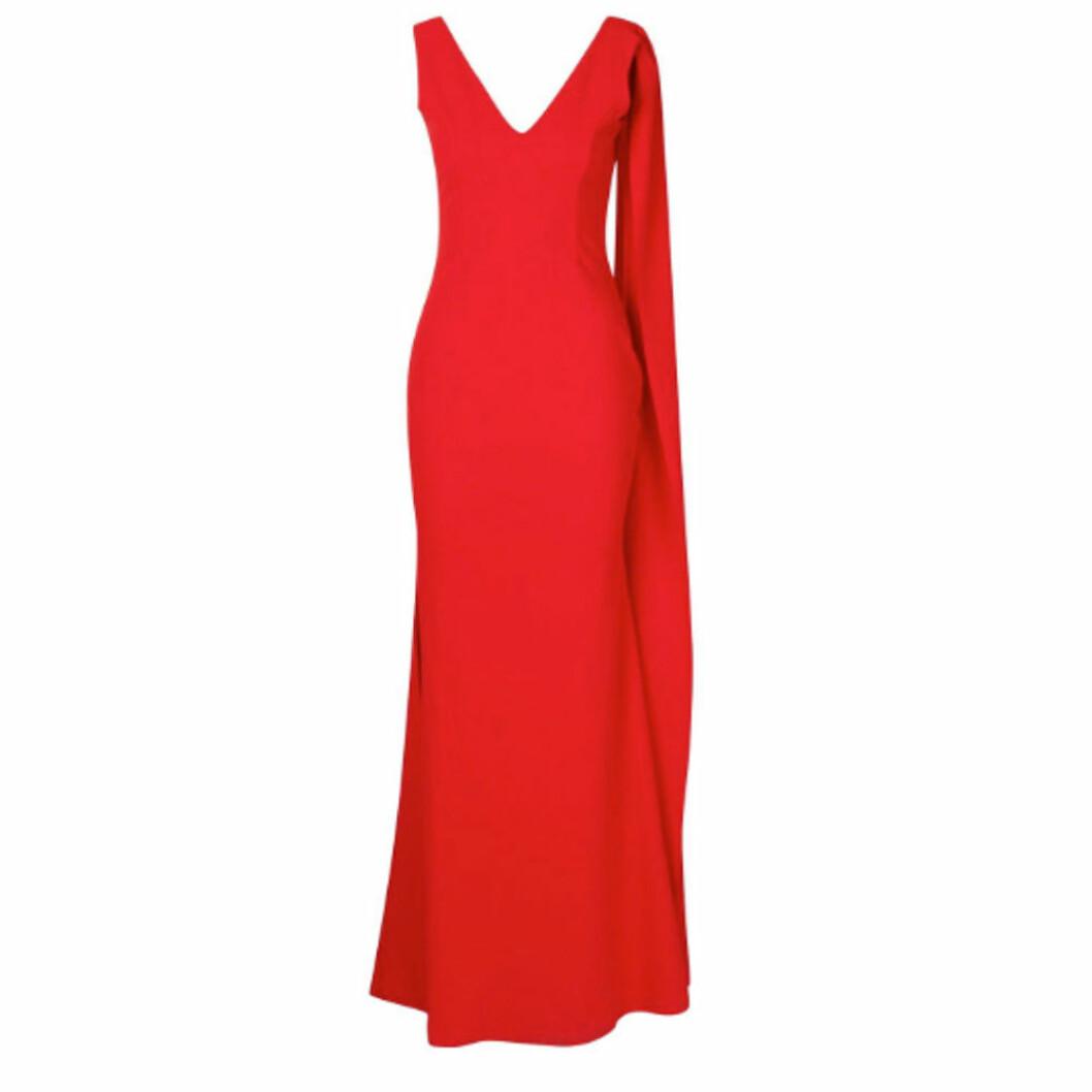 Röd balklänning med cape från boohoo