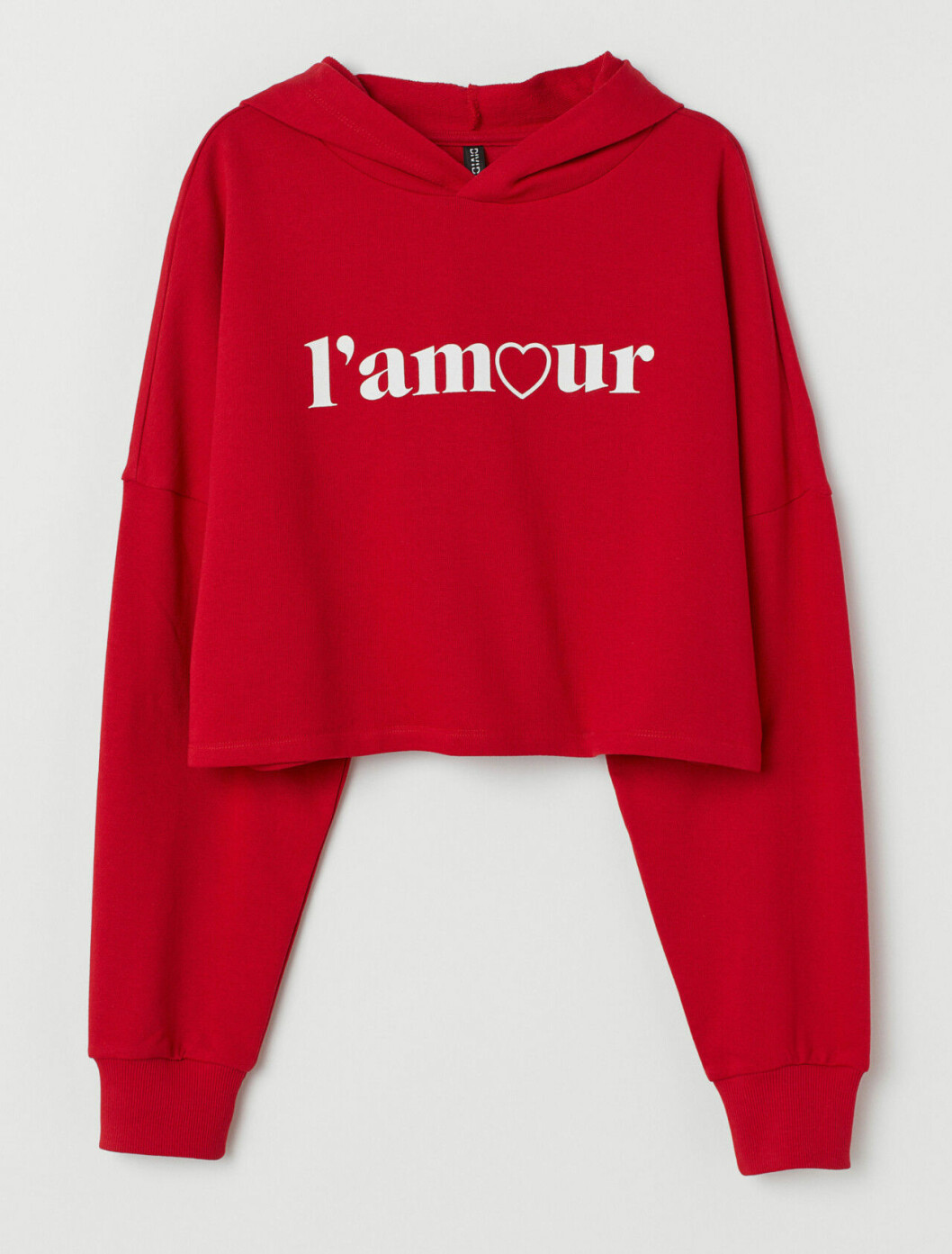 Röd hoodie i croppad modell