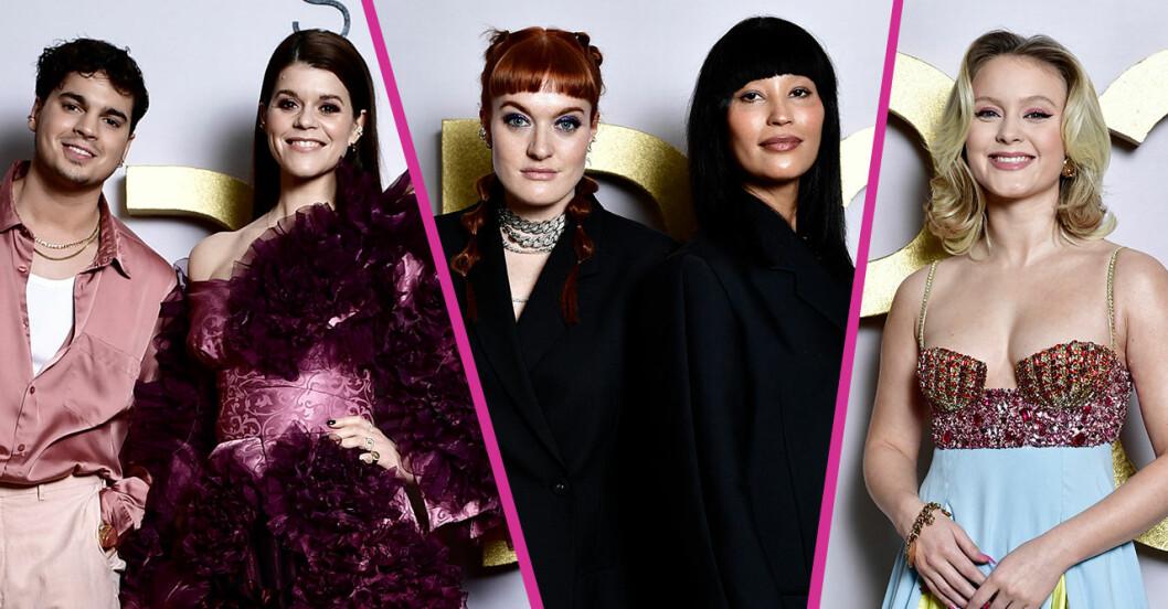 Oscar Zia, Emma Molin, Icona Pop och Zara Larsson på P3 gulds röda mattan.