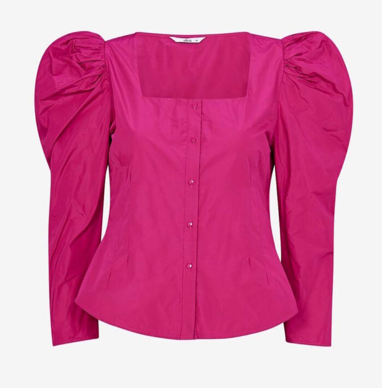 Rosa blus med puffärm för dam till 2019