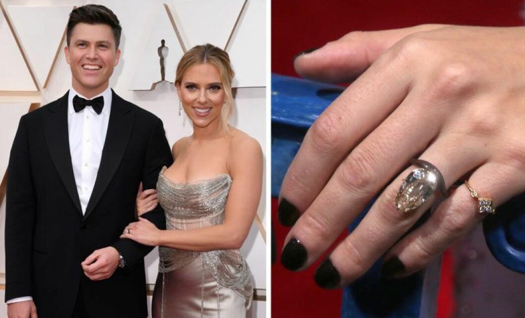 Scarlett Johansson och Colin Jost på röda mattan