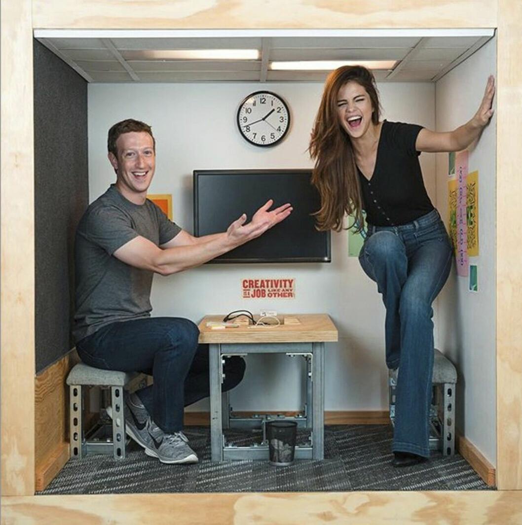 Selena Gomez och Mark Zuckerberg.