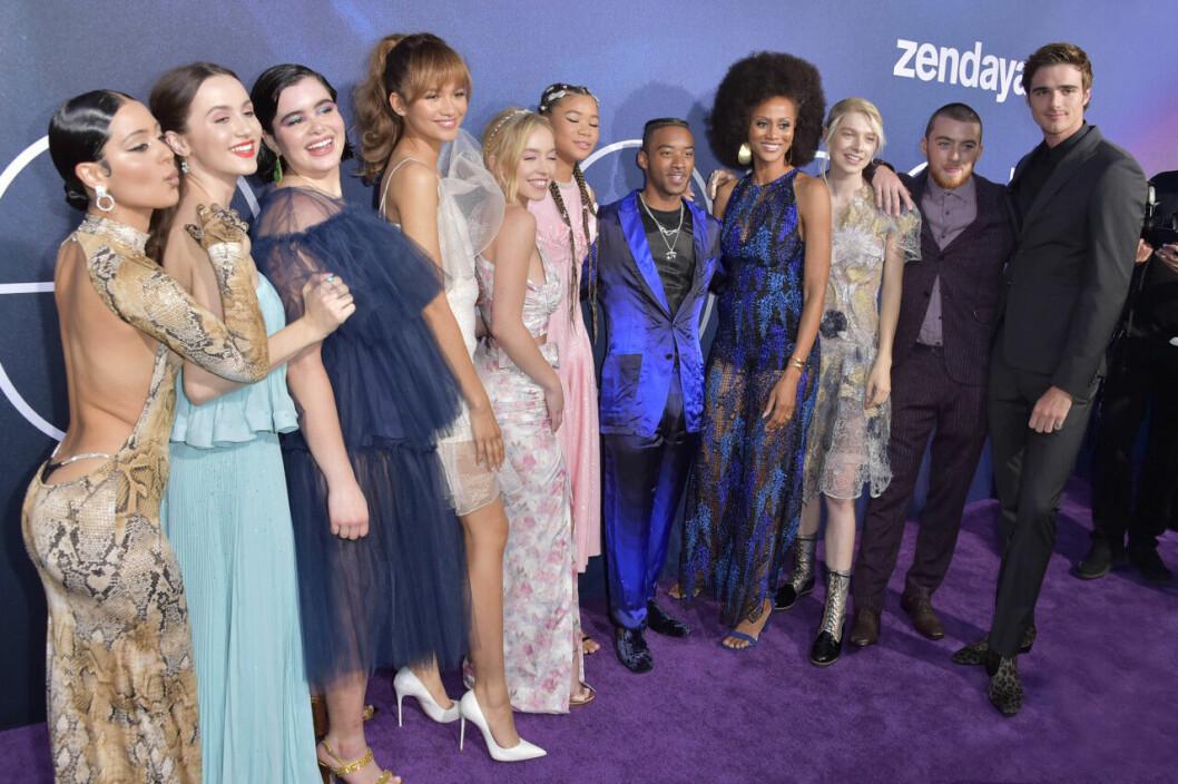 Euphoria-gänget på premiären av serien.