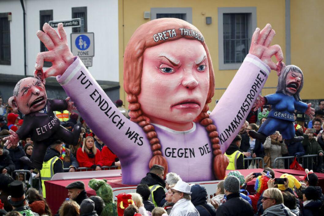 Figur som efterliknar Greta Thunberg på en parad i Tyskland