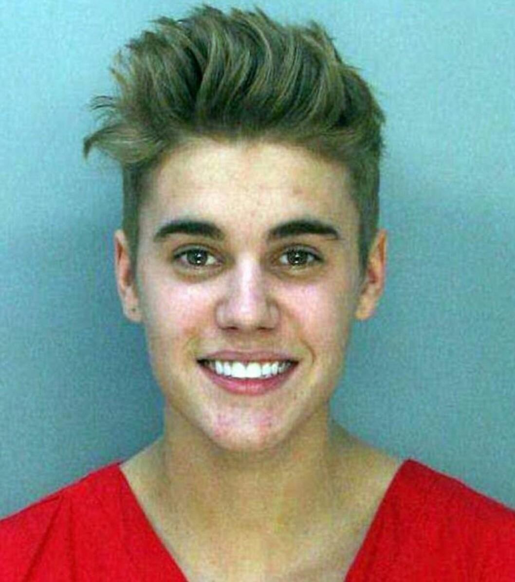 Justin Bieber när han greps av polisen i Miami.