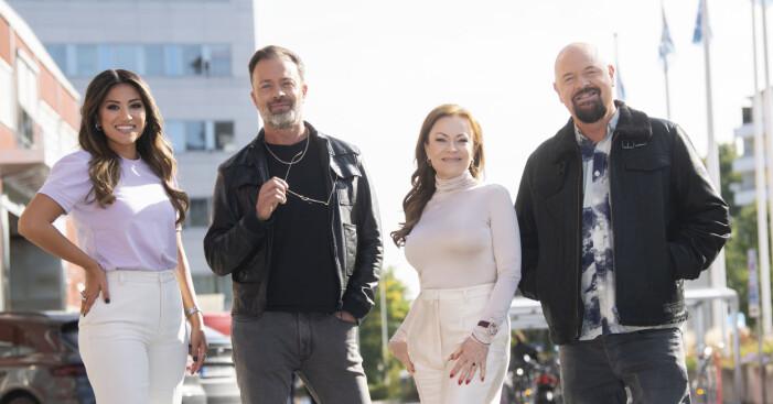 Idol-juryn 2020 bestående av Nikki Amini, Alexander Kronlund, Kishti Tomita och Anders Bagge.