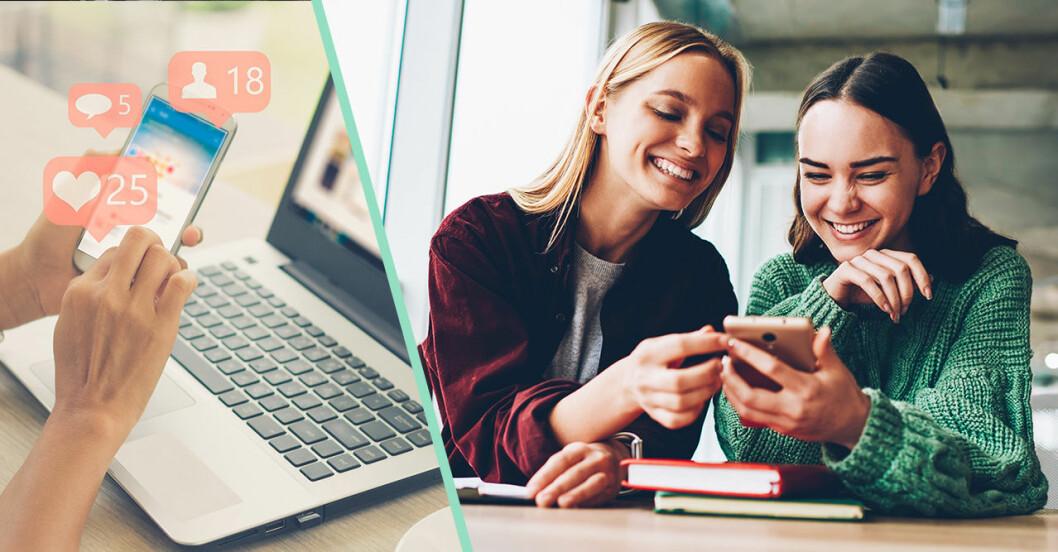 två tjejer tittar i en mobil och skrattar