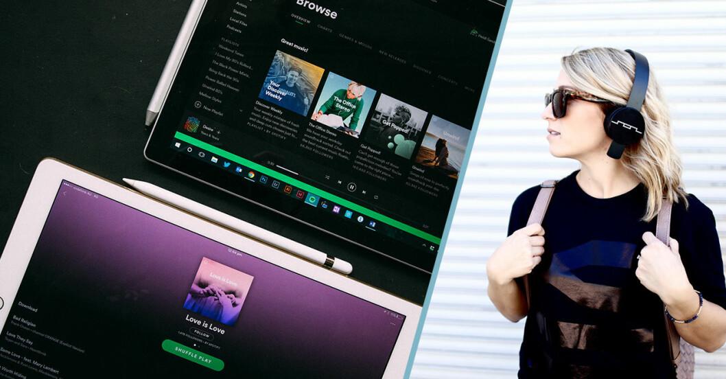 Spotify Duo och tjej med hörlurar