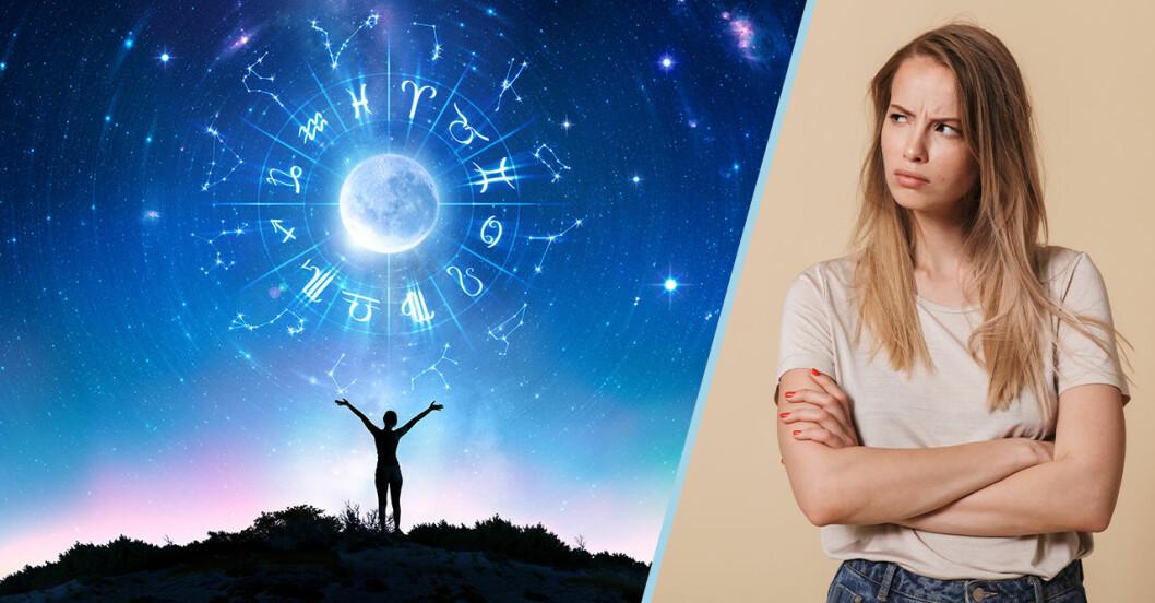 en himmel med stjärnor och en tjej som ser sur ut
