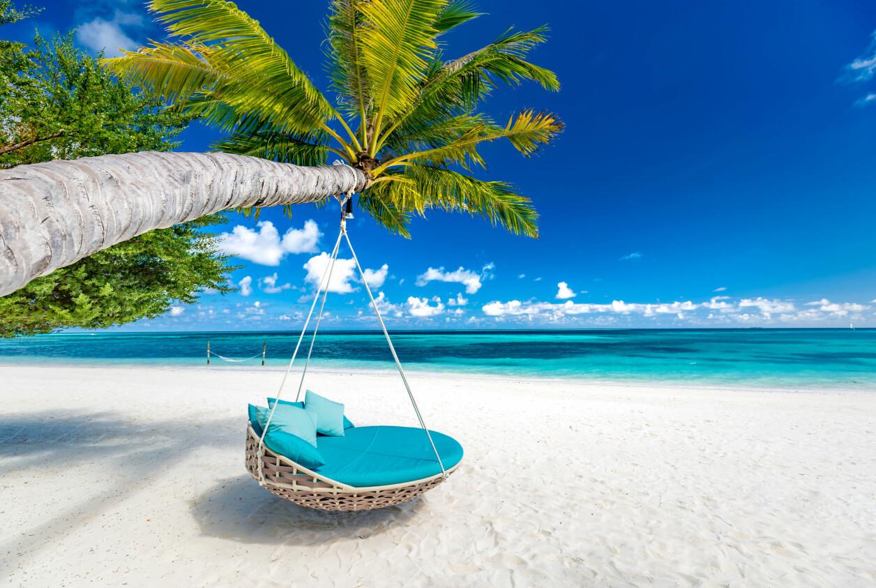 Vit strand och blått hav med en solstolsgunga