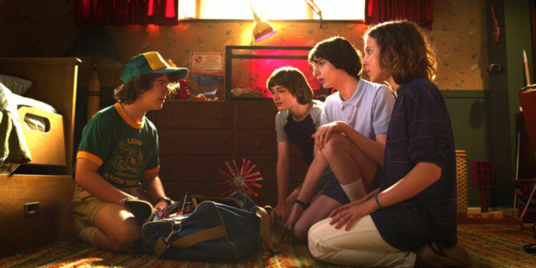 Dustin, Lucas, Will, Eleven och Mike i Stranger Things 3.