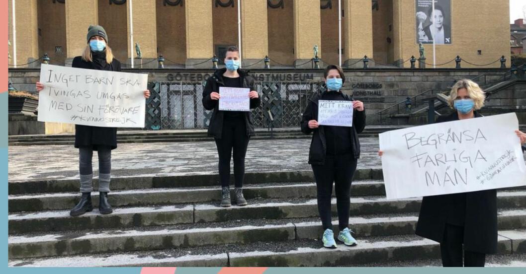 Några av deltagarna i kvinnostrejken.