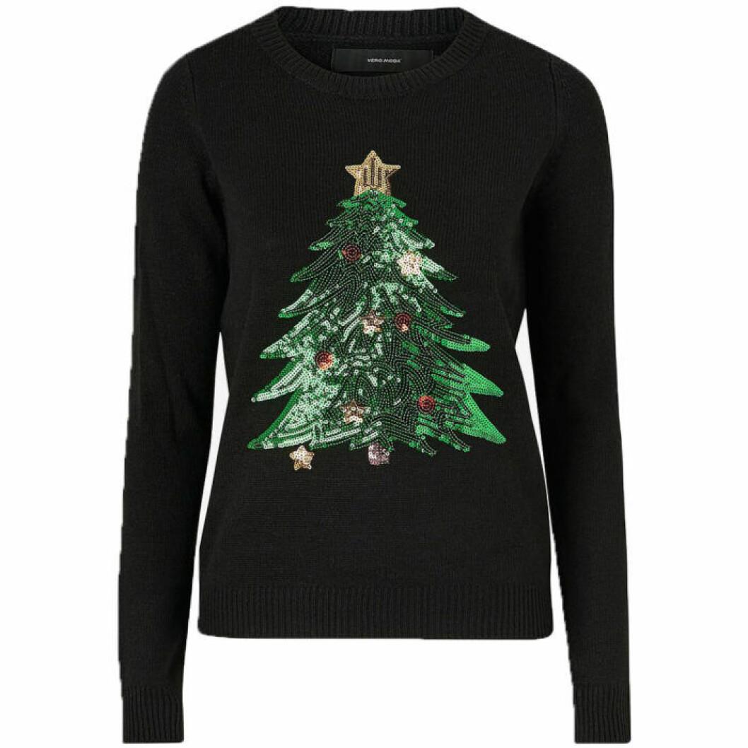 Jultröja i svart färg med julgran
