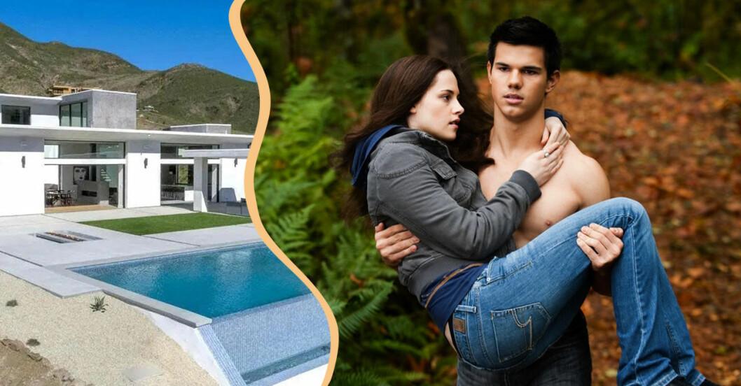 Bild på Jacob och Bella i Twilight tillsammans med en bild på Jacobs hus