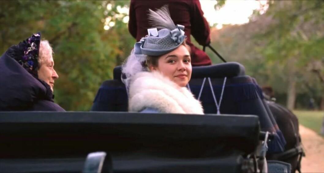 En bild på skådespelerskan Florence Pugh i filmen Little Women.