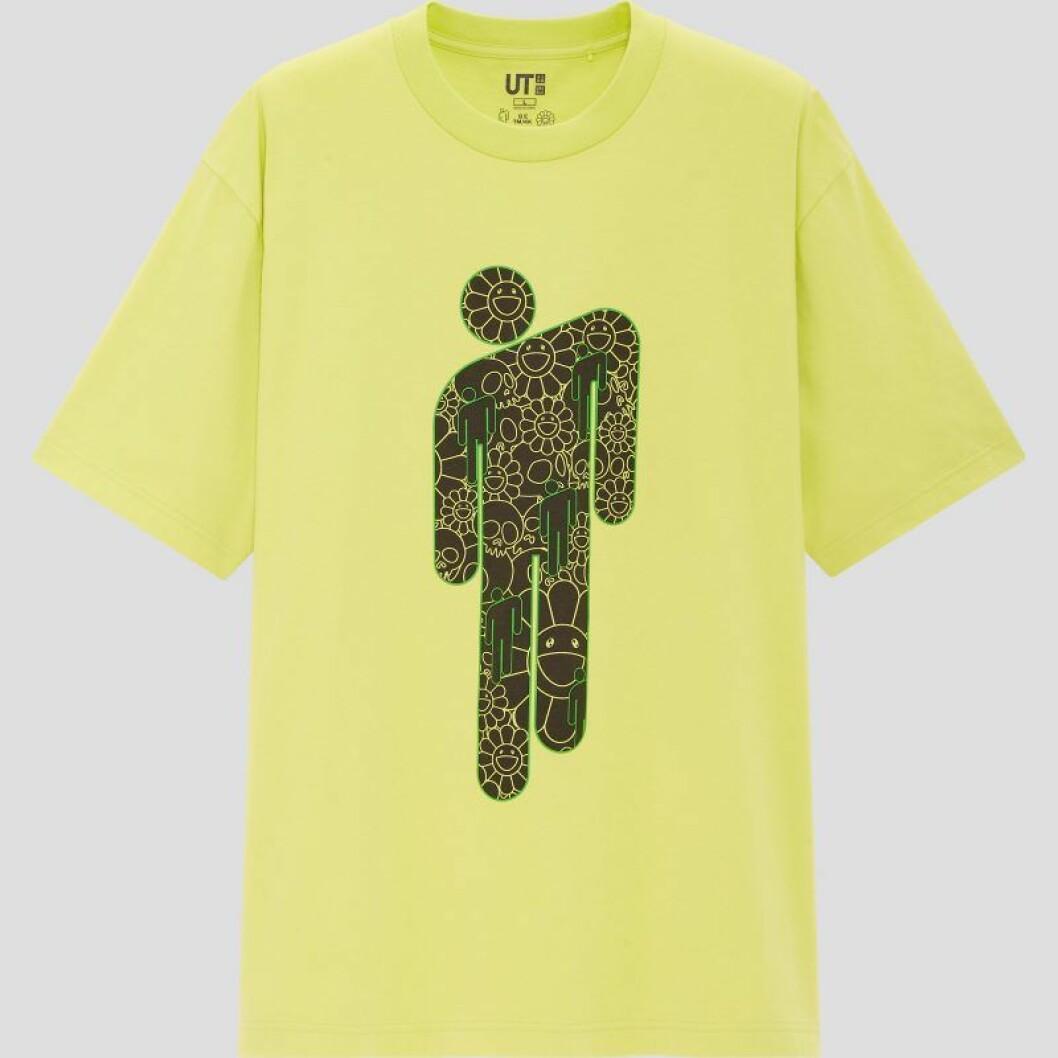 Billie Eilish x Takashi Murakami för Uniqlo: neongul t-shirt med tryck för herr