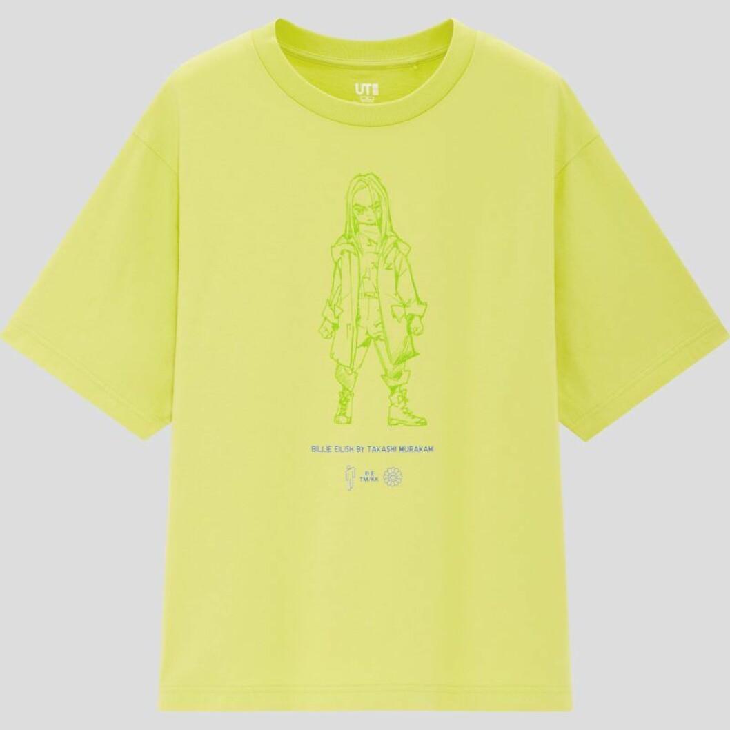 Billie Eilish x Takashi Murakami för Uniqlo: neongul t-shirt med tryck