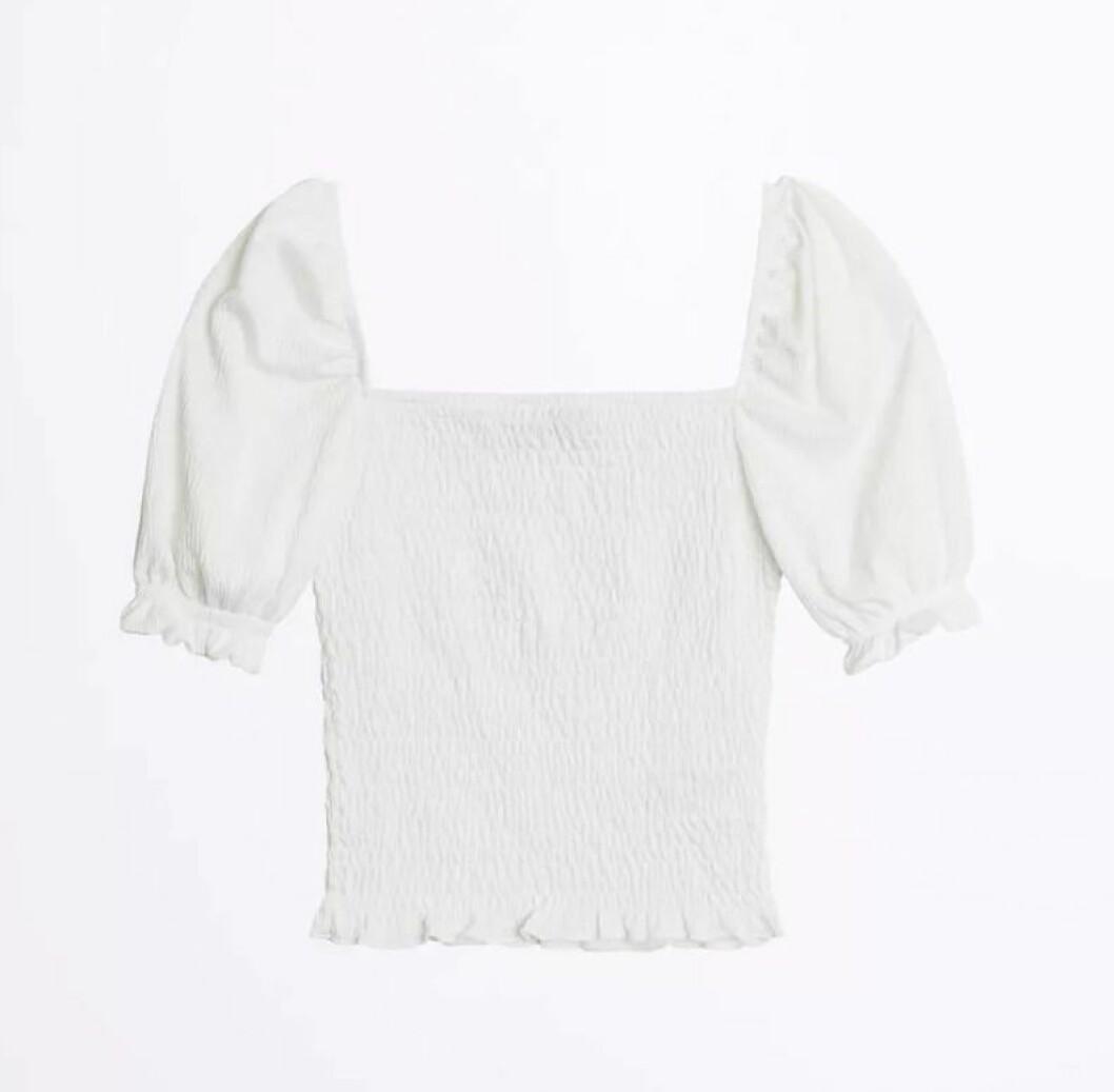 Vit blus med puffärm från Gina tricot