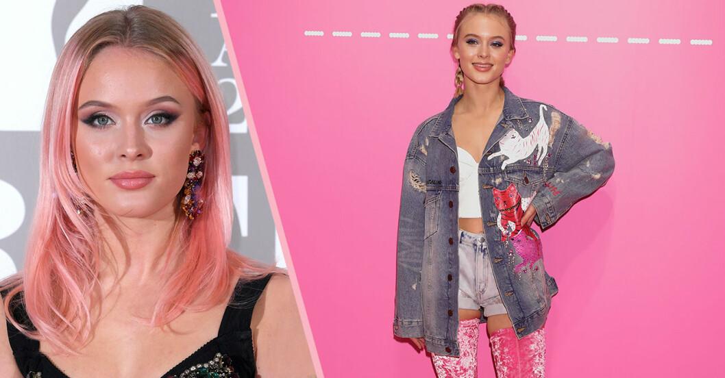 Zara Larsson i rosa hår och Zara Larsson i en oversize jeansjacka